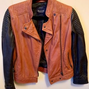 Madewell brown/black leather moto jacket